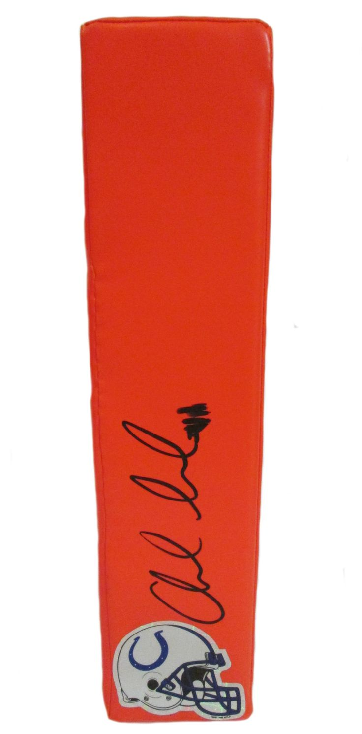 SOLD OUT! Andrew Luck signed Indianapolis Colts Rawlings football touchdown end zone pylon w/ proof photo.  Proof photo of Vic signing will be included with your purchase along with a COA issued from Southwestconnection-Memorabilia, guaranteeing the item to pass authentication services from PSA/DNA or JSA. Free USPS shipping. www.AutographedwithProof.com is your one stop for autographed collectibles from Indiana sports teams. Check back with us often, as we are always obtaining new items.
