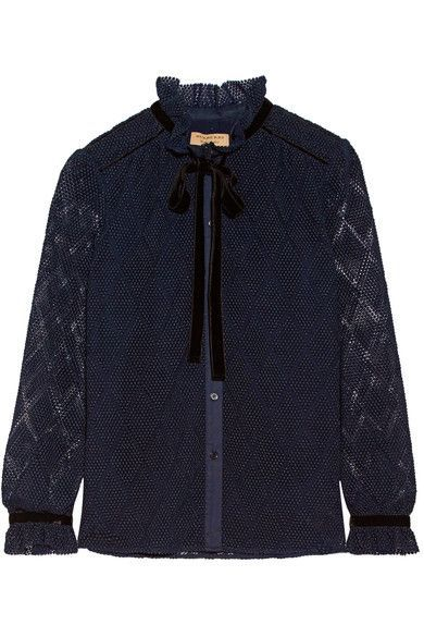 Burberry - Velvet And Stretch Cotton-trimmed Macramé Lace Blouse - Navy