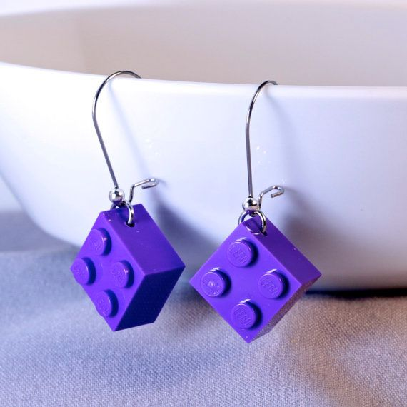 Purple LEGO® earrings - Dangly LEGO® Earrings - LEGO® Gifts - Cool Gift For Teen - Lego® Gift for Adults - Girl Gift Ideas - Purple earrings ~ Exclusively at http://BrickAndButton.Etsy.com