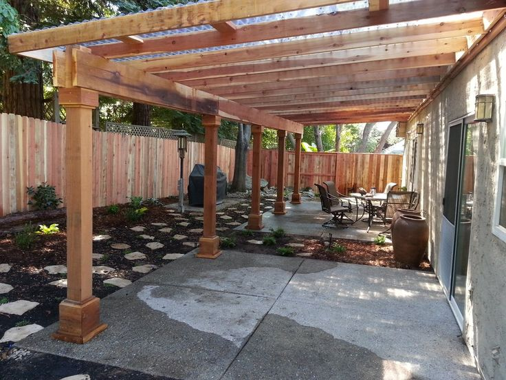 Photo of One Stop Landscaping - Elverta, CA, United States. A water  efficient back yard with a redwood pergola that has clear corrugated  plastic for a roof. - 17 Best Ideas About Pergola Roof On Pinterest Pergolas