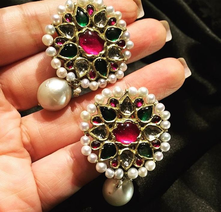 Earrings kundan ruby emerald