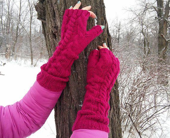 Woman Pink Warm Mittens gift for Women Hand Knitted Fingerless