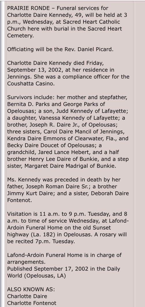 Charlotte Daire Kennedy obituary  Ville Platte, Louisiana 2002
