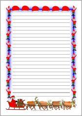 Christmas A4 portrait page borders - lined (SB10105) - SparkleBox