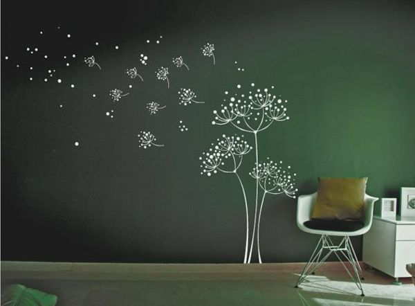Stickers chambre adulte - chambre vert avec sticker floral