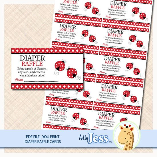 Red Ladybug Patch Baby Shower Raffle Card by AllPetsCherished