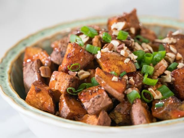 Sweet and Spicy Glazed Sweet Potatoes - These looked good!  I'd say you totally don't need the pecans and green onions on the top.