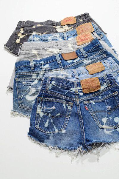 Vintage LEVIS Denim Cutoff Shorts Bleached Distressed Custom Jean Shorts
