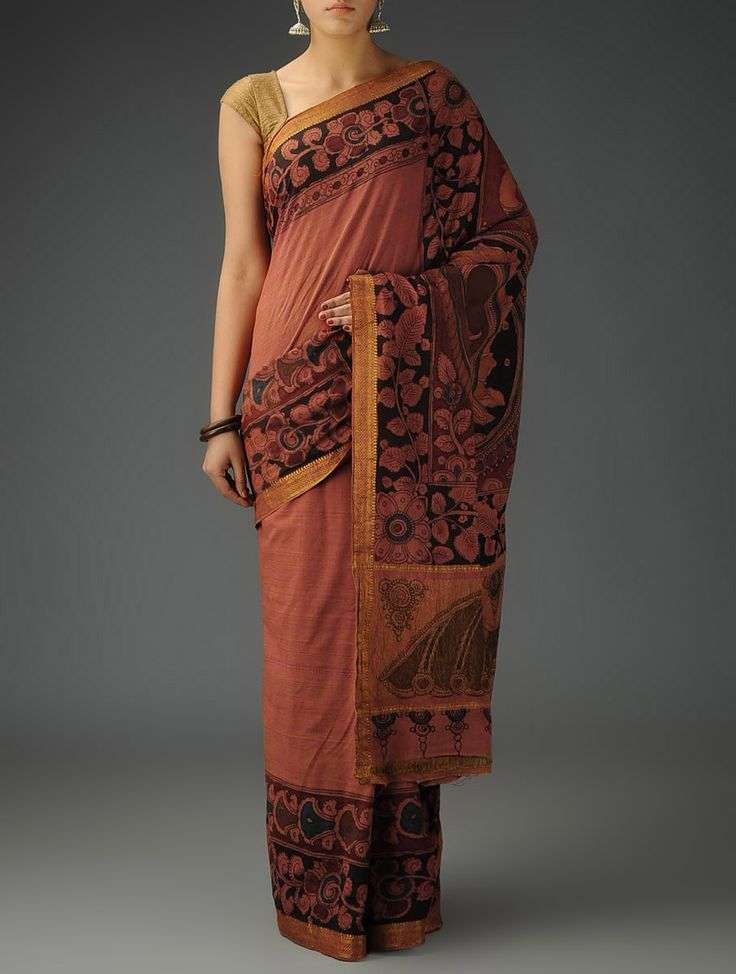 Buy Rust Black Cotton Hand Painted Kalamkari Saree Sarees Printed Narratives Concept and Stoles in Art Online at Jaypore.com