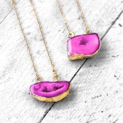 NEM081 PINK DRUZY SURA Kette necklace jewelry koshikira kk (2)
