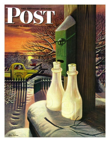 """""""Frozen Milk,"""" Saturday Evening Post Cover, January 8, 1944by Stevan Dohanos"""