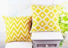 18¨ * 18¨ Decoração Casa Ikea Amarelo Chevron  Almofada de Linho Quadrifólio  Amarelo Almofada Lance Capa para Travesseiro Capa para o Sofá Cama(China (Mainland))