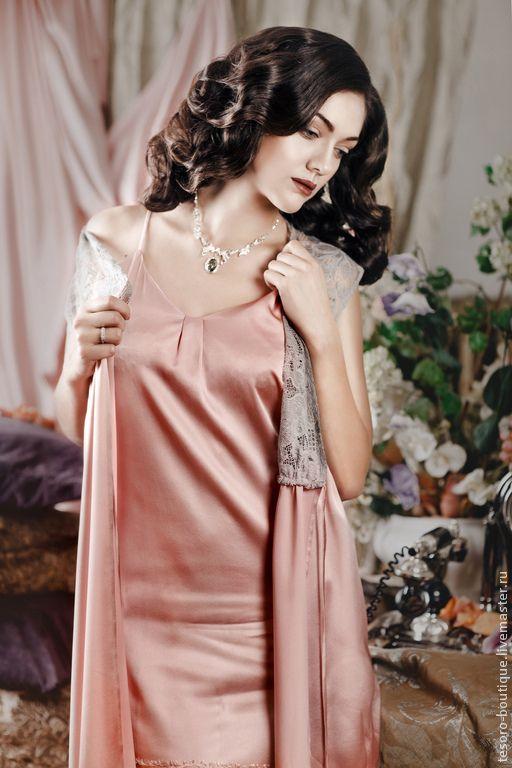 Купить Праздник Шампанского (комплект) - бледно-розовый, однотонный, натуральный шелк, французское кружево
