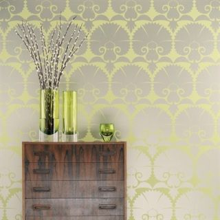by Osborne & Little  rows of stylised carnations in metallic and lacquer…