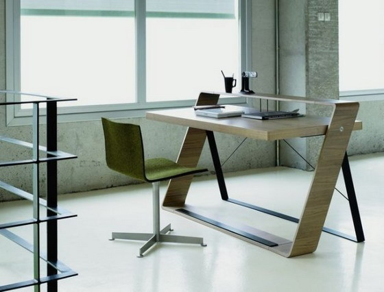 Attractive Modern Home Office Computer Desks Ideas : Walnut Modern Office  Desk For Small Space