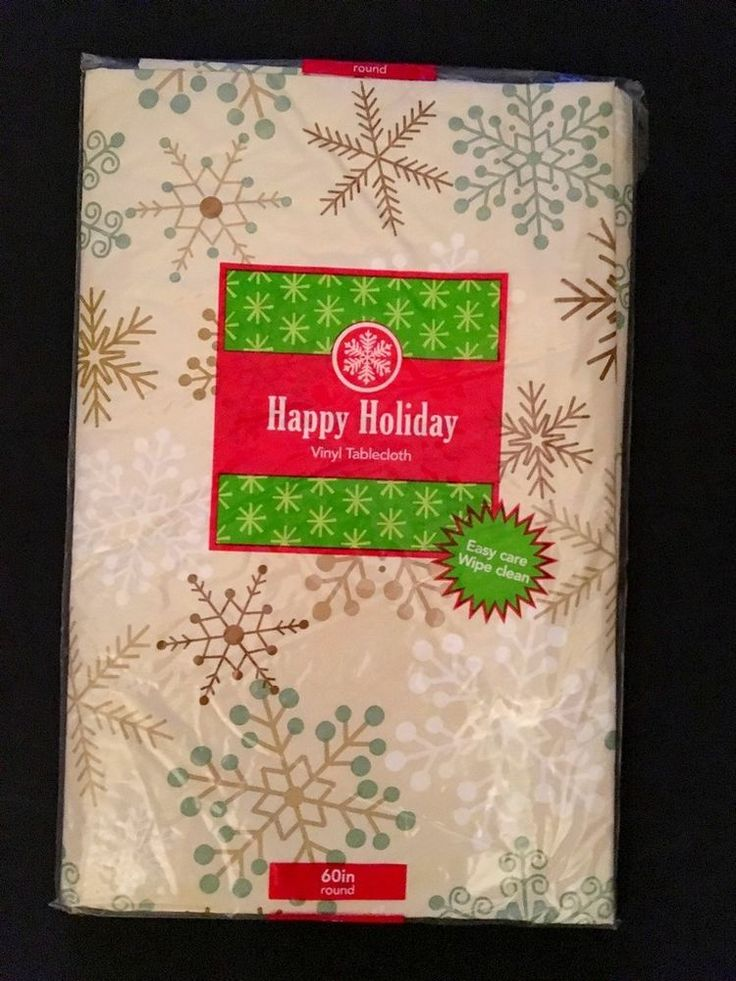 "ELRENE Holiday VINYL TABLECLOTH FLANNEL-BACKED Snowflake Gold 60"" Round NEW #Elrene"