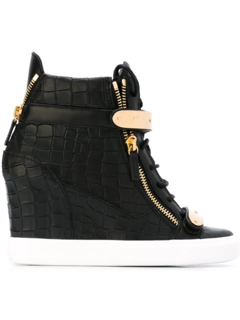 Giuseppe Zanotti Design crocodile effect hi-top wedge sneakers