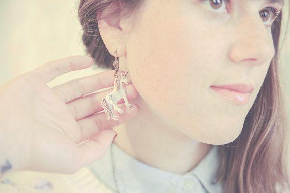 Unicorn / Licorne Dangle Dangler Earrings. Pastel Lilac Fairy Tale Wonderland Jewelry. Made in Plastic.