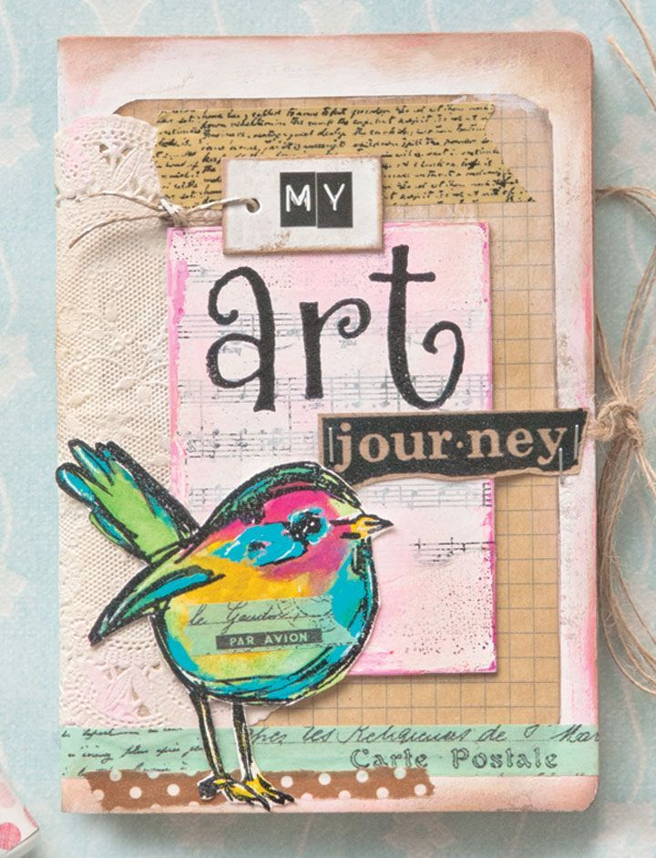 What do doilies, decorative tapes, and decoupage have in common? They were all used on this notebook  by Dottee Odom featured in The Stampers Sampler April 2015.