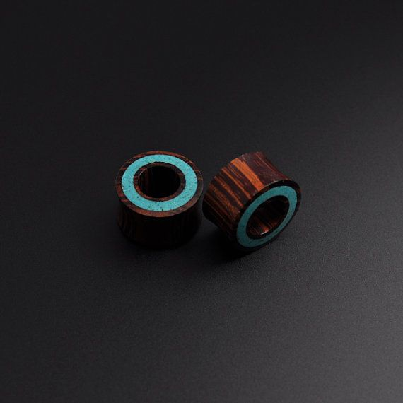 Stunning Hand Carved Rengas Wood with Crushed Turquoise Halo Inlay Organic Handmade Flesh Plug Tunnel Wooden Natural Ear Lobe Stretcher on Etsy, $27.51