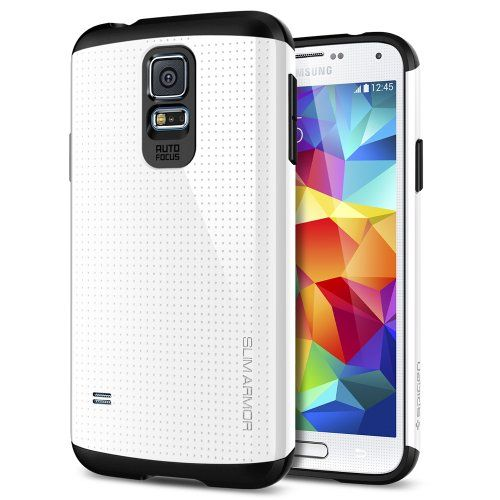 [AIR CUSHION] Spigen Samsung Galaxy S5 Case Slim [Armor] [Slim Armor Shimmery White] DOTTED Design Slim Fit Dual Layer Protective Case for Galaxy S5 / Galaxy SV / Galaxy S V (2014) - Shimmery White (SGP10755) Hard polycarbonate back frame + Soft TPU Cover = Dual Protection. Galaxy S5 Design with Perforated Patterns: Feels just like Galaxy S5. Advanced Shock Absorption Technology: Web Pattern TPU c... #Spigen #Wireless