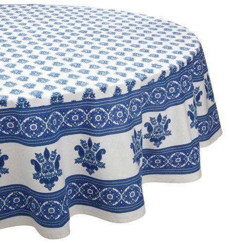 Mahogany Floral Print Tablecloth, 70 Inch Round, 100 Percent Cotton, Cream