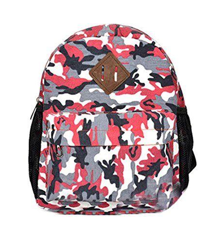 Fansela(TM) Cool Camouflage Waterproof Canvas Backpack School Bag For Kids Red