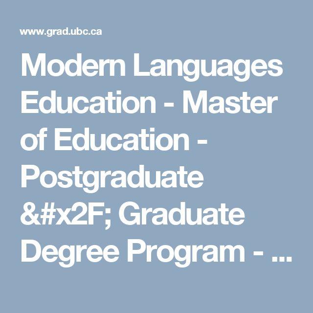Modern Languages Education - Master of Education - Postgraduate / Graduate Degree Program - UBC Grad School