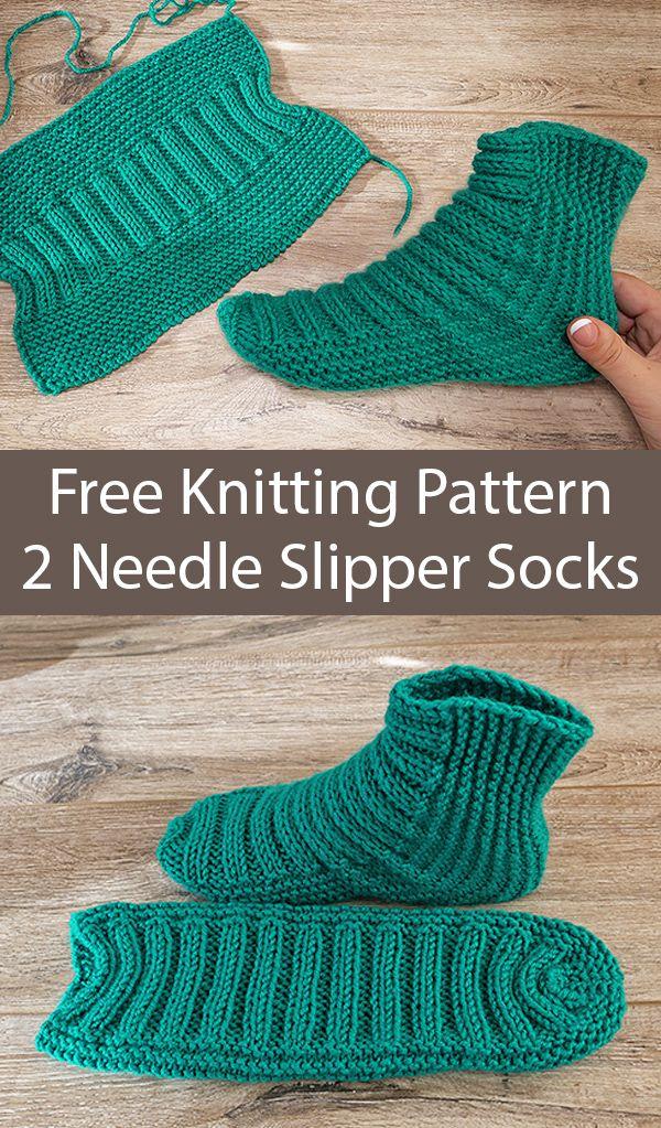 Free Knitting Pattern For Easy Two Needle Ribbed Slipper Socks