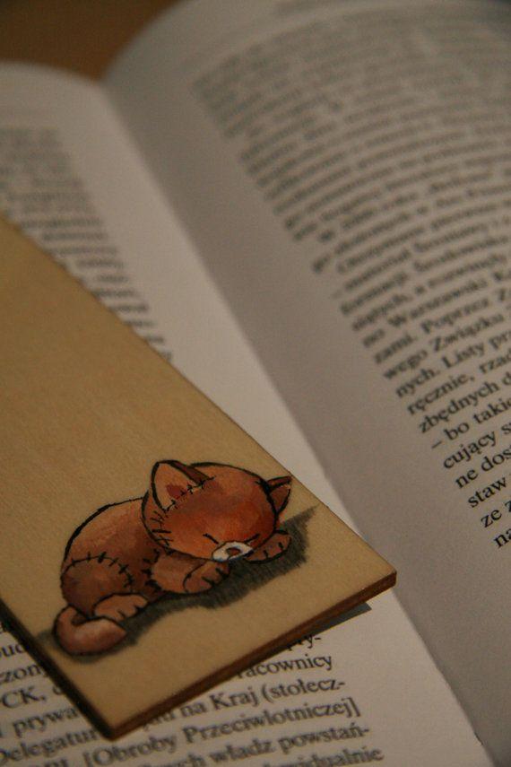 Unique Wood bookmark. Teddy bear sleeping kitty by FennekArtDesign