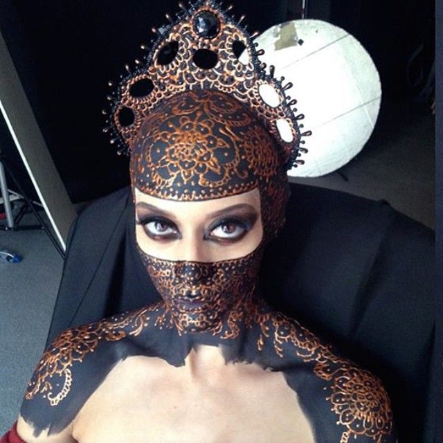 Behind the scene for Persian Priestess. Model Nayeli Morales Bald cap application by Alex Thiel.