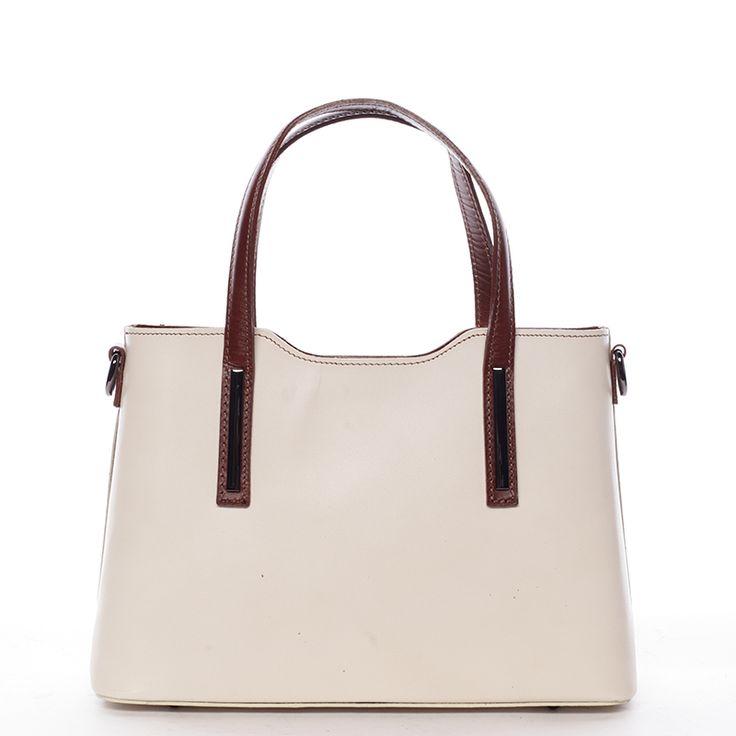 Dámská béžovo-koňaková  středně velká kožená kabelka do ruky nebo přes rameno. #kabelka #kabelky #móda #krása #doplňky #béžová