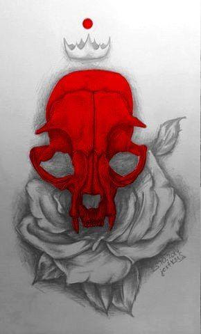 эскиз череп роза красный