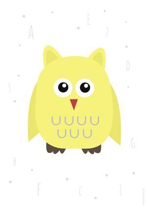 Plakat z żółtą sową