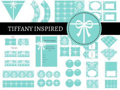 Tiffany Party Package, Tiffany Party, Tiffany Printables, Tiffany and Co, Tiffany Blue, Tiffany Digital Papers, bridal shower, baby shower