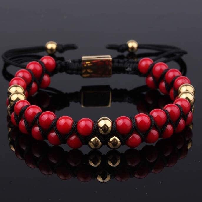 PRE-ORDER Red Coral Double Beaded Bracelet 6mm