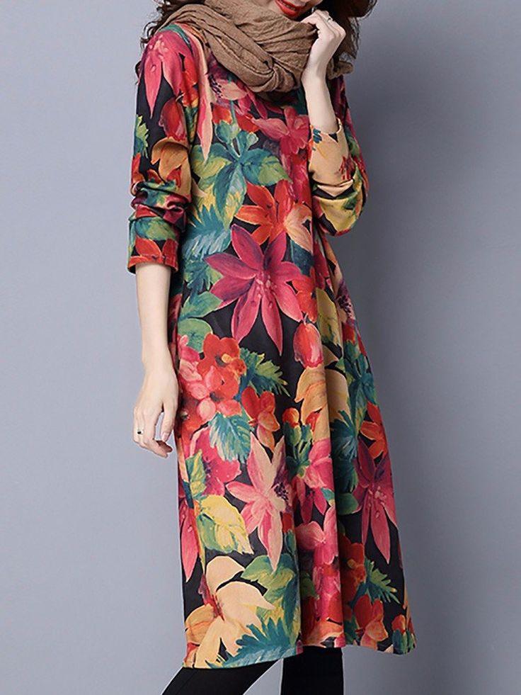 Printed Loose Long Sleeve Women Vintage Dresses