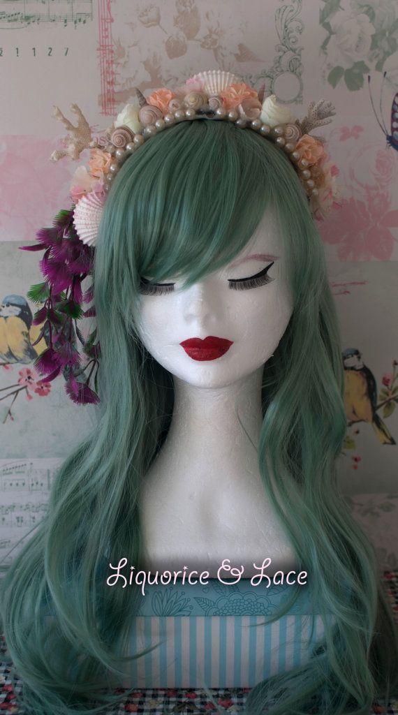 Seafoam green mermaid wig (heat resistant fibre) -hairband not included-