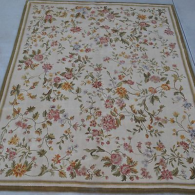 8'x10' Handmade Thick and Plush Floral Roses French Savonnerie Wool Rug Carpet