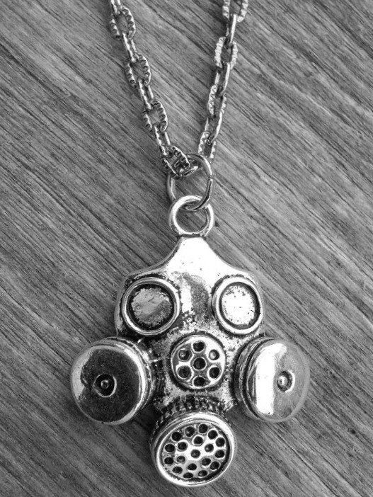 Silver Gasmask Necklace by Ink & Roses 13