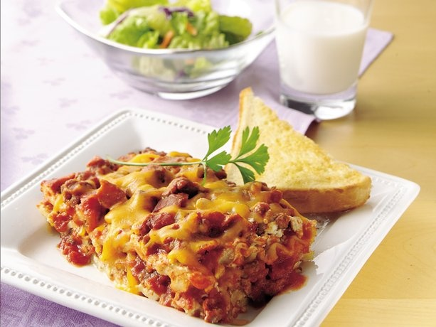 Easy Bacon Cheeseburger Lasagna. I would replace the ricotta cheese with a different type of cheese.