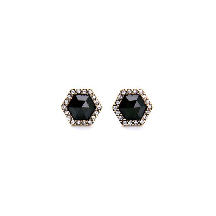 Antique Gold Tone Geometric Hexagon Black Stud Earrings with Crystal Accents