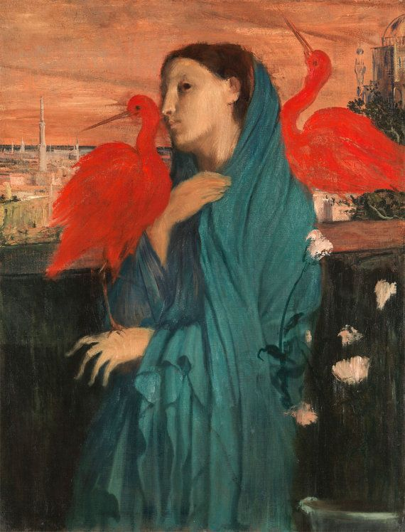 """Young Woman with Ibis,"" (c. 1860-62) Edgar Degas. A strange & enigmatic work by Edgar Degas that hints at mystical undercurrents and hidden meaning. An abstracted woman leans against the terrace of a distant, Muslim city, flanked by 2 scarlet ibises. In Egypt, the ibis was associated with Thoth, the god of writing, scribes and wisdom; it is also a symbol of fertility, and a ward against snakes. This piece was discovered upon Degas's death & never exhibited during his lifetime."