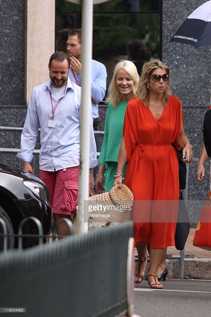 Princess Mette-Marit of Norway (green) and Prince Haakon of Norway (blue) are seen leaving the Hotel de Paris the morning before the ceremony of the Royal Wedding of Prince Albert II of Monaco to Charlene Wittstock in the main courtyard on July 2, 2011 in Monaco, Monaco.