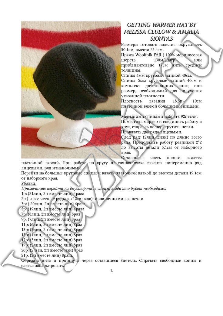 Шапка платочной вязкой спицами описание