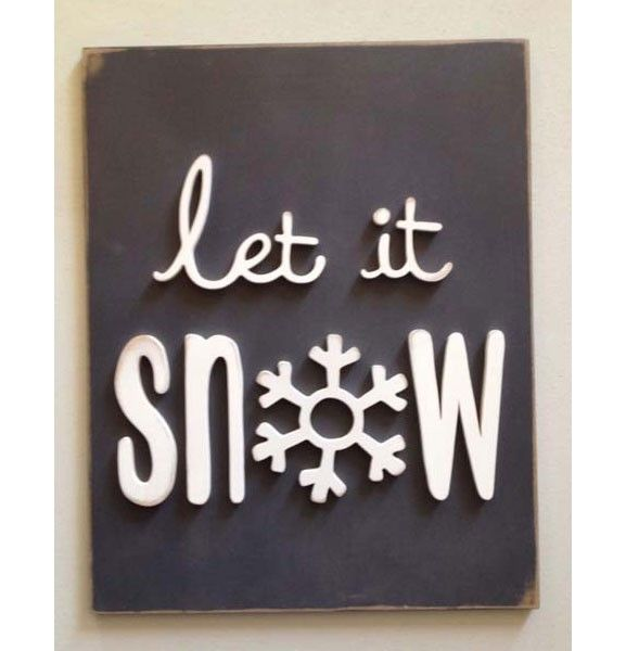 Let it Snow Wood Typography Sign