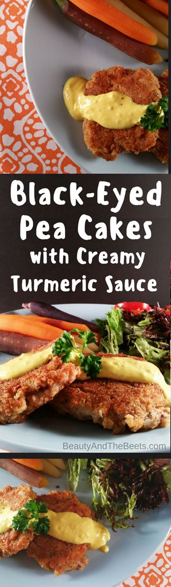 Black-Eyed Pea Cakes with Creamy Turmeric Sauce Beauty and the Beets