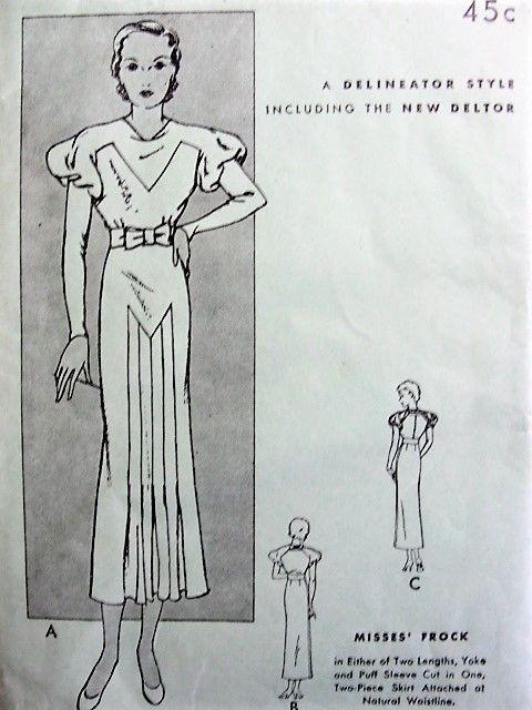 1930s ART DECO Design Dress Pattern BUTTERICK 4838 Two Fabulous Designs Bust 36 Vintage Sewing Pattern FACTORY FOLDED