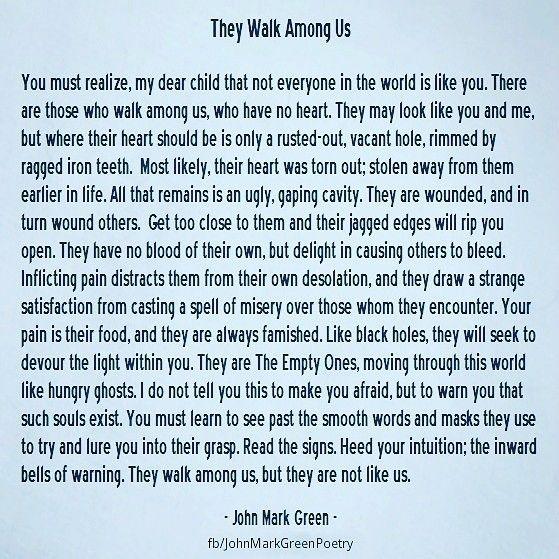 They Walk Among Us - dark poem by John Mark Green #NPD #psychopath