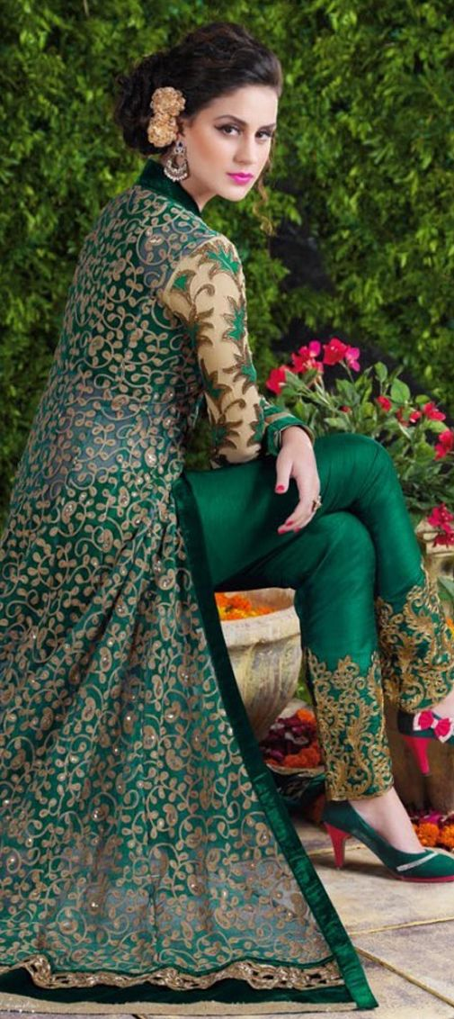 452060: Green color family unstitched Party Wear Salwar Kameez .